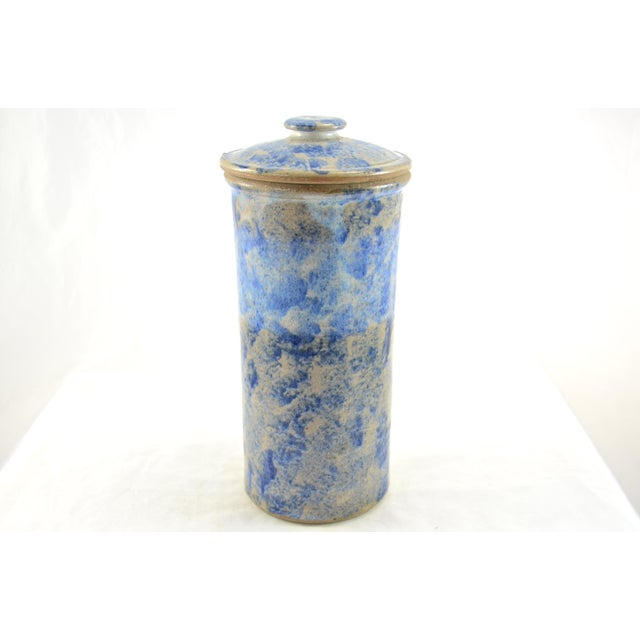 Tall vintage artisan made studio stoneware lidded container in shades of blue sponged-on glaze. Perfect for the country...