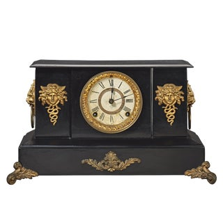 19th Century Traditional Ansonia Black Mantel Clock For Sale