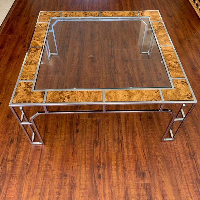 Milo Baughman Chrome and Burl Wood Chippendale Style Square Coffee Table For Sale - Image 4 of 9