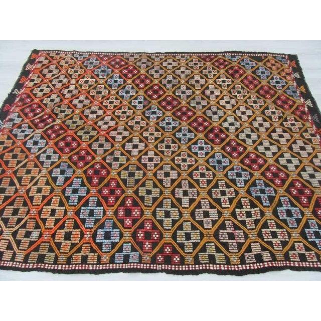 Turkish Kilim Embroidered Rug - 5′11″ × 7′11″ For Sale - Image 4 of 6