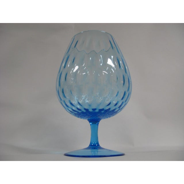 1960s Empoli Aqua Blue Optic Glass Snifter Vase For Sale - Image 13 of 13