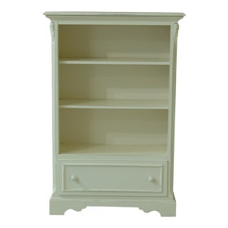 Lexington Open Bookcase W. Drawer Rubbed White Finish For Sale