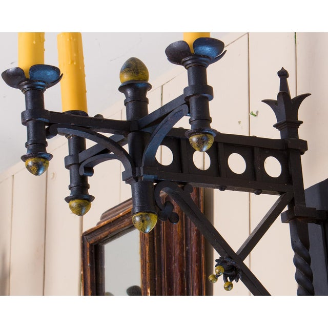 Pair Monumental Iron Neo-Gothic French Sconces, circa 1910 For Sale In Houston - Image 6 of 7