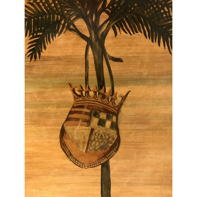 Vintage Palm Tree With Coat of Arms Table Lamp For Sale - Image 4 of 8