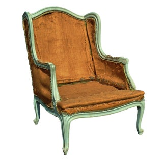 Early 20th Century Antique Louis XV Style Painted Bergere Chair