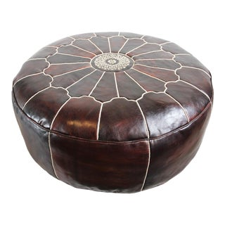 Large Leather Moroccan Ottoman For Sale
