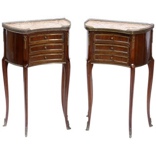 Pair of French Gilt Bronze Mounted Nightstands, 19th Century For Sale