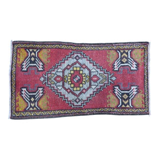 """Early 20th Century Handmade Turkish Accent Rug Carpet, 1'8"""" X 3'1"""" For Sale"""