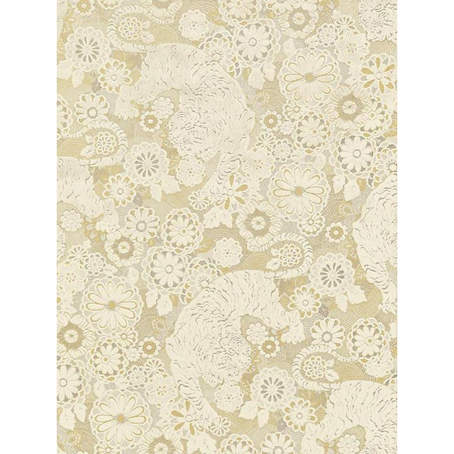 Chinoiserie Sample, Scalamandre Siberian Tiger, White Tawny Fabric For Sale - Image 3 of 3