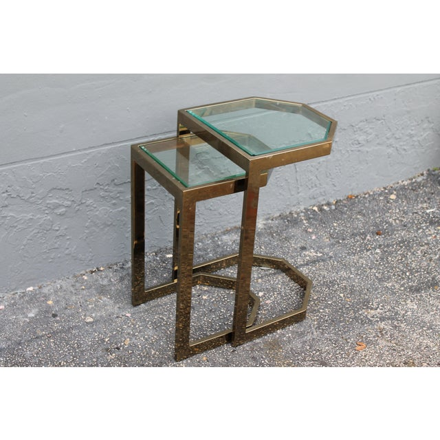 Mid-Century 2 Tier Brass Glass Nesting Tables - A Pair - Image 5 of 11
