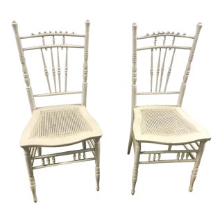 White Vintage Dining Chairs With Cane Seats - A Pair