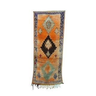 "1970s Vintage Moroccan Rug-3'5"" X 8'2"" For Sale"