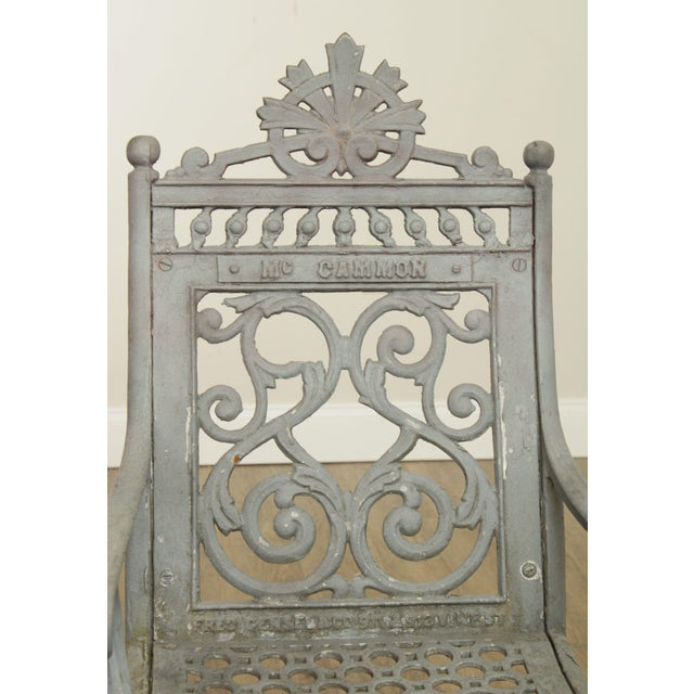 Antique Cast Iron Pair of Garden Cemetery Armchairs, Fred Gensel & Co. For Sale - Image 12 of 13