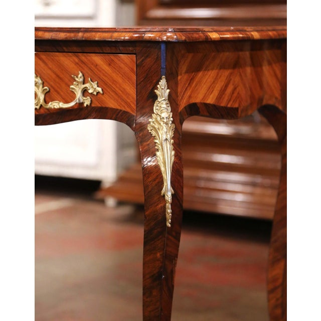 19th Century French Louis XV Marquetry and Bronze Ladies Desk With Leather Top For Sale In Dallas - Image 6 of 13