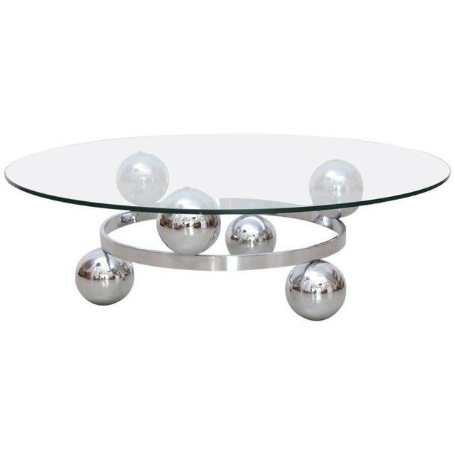 1960s Round Chrome Sputnik Atomic Coffee Table With Glass Top For Sale - Image 5 of 5