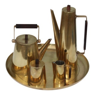 Modernist Brass Italian Tea Set For Sale