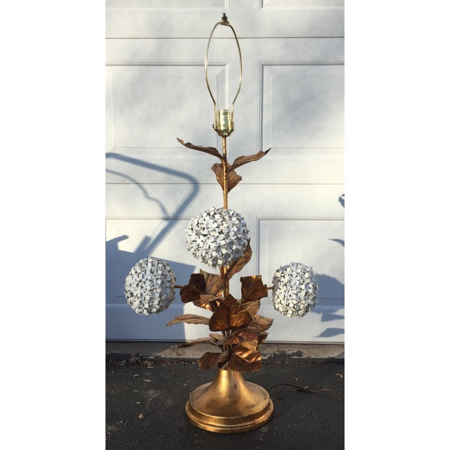 Italian Hydrangea Tole Table Lamp For Sale - Image 11 of 11