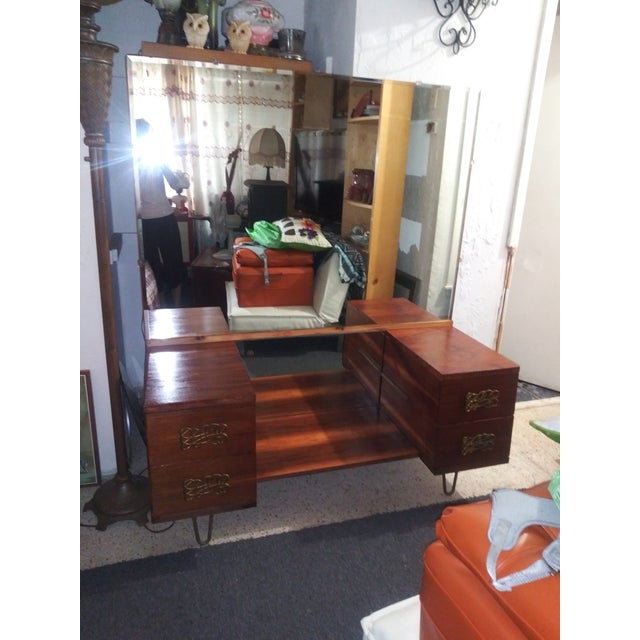 Danish Modern Mid Century Walnut Vanity With Hairpin Legs and Mirror For Sale - Image 3 of 11