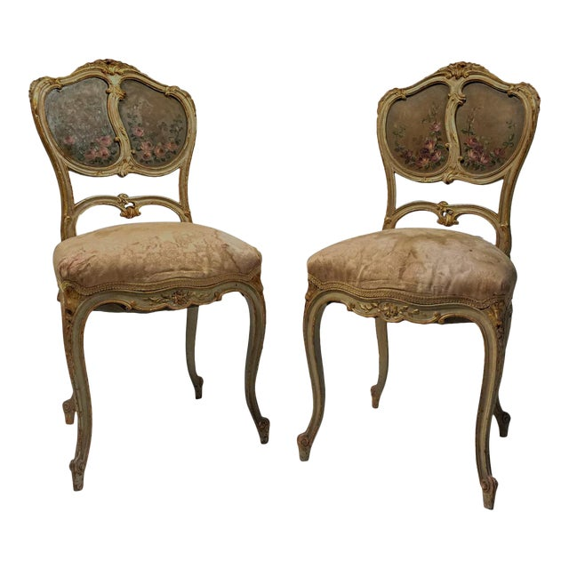 French Gilt & Painted Boudoir Chairs - A Pair For Sale