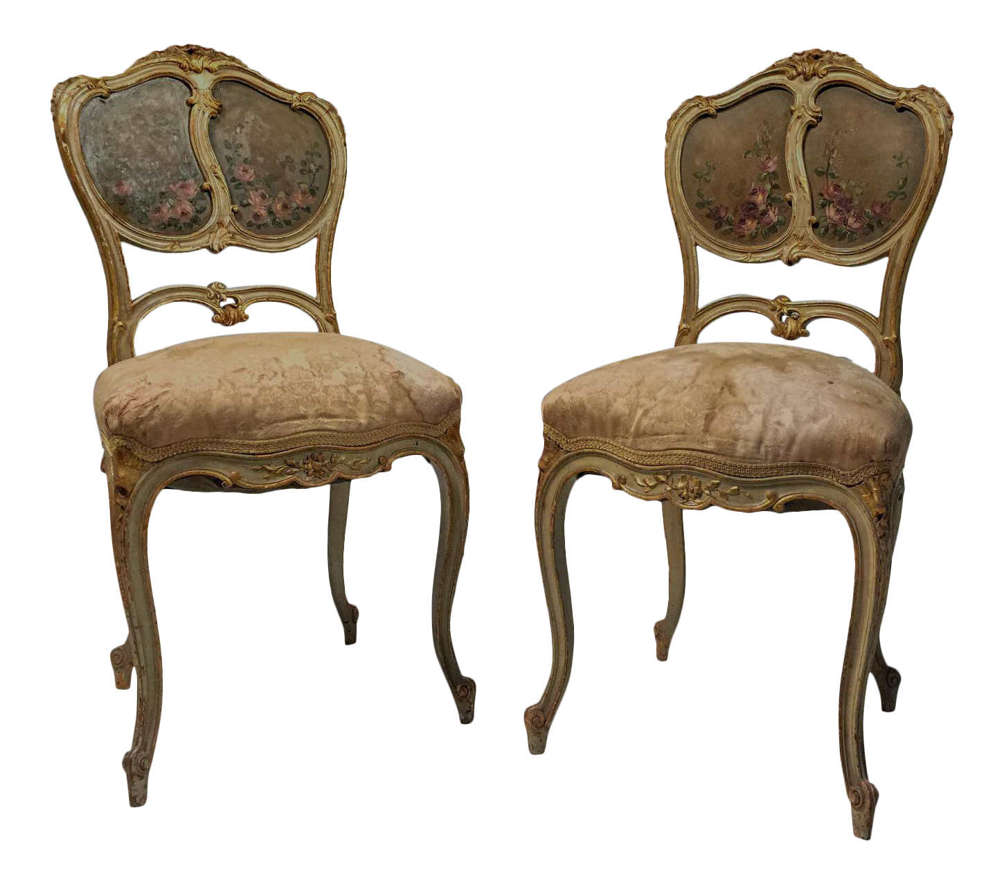 French Gilt U0026 Painted Boudoir Chairs   A Pair