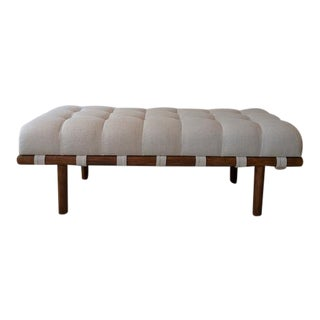 Modern Teot Custom Upholstered Bench For Sale