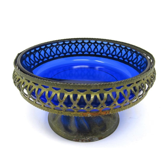 1920s Vintage Cobalt Glass Bowl in Pierced Metal Stand For Sale - Image 5 of 8