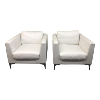 Design Within Reach Albert White Leather Arm Chairs - a Pair