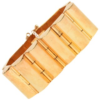 Art Deco Modernist Style Gold Plated Channeled Cuff Bracelet For Sale