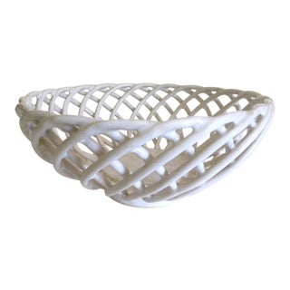 Vintage Mid Century Italian Art Pottery Open Weave Lattice White Ceramic Basket Bowl