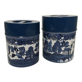 "Mid-Century ""Blue Willow"" Metal Canisters - Set of 2 For Sale"