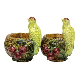 Vintage Majolica Pots W/ Birds & Cherries - a Pair For Sale