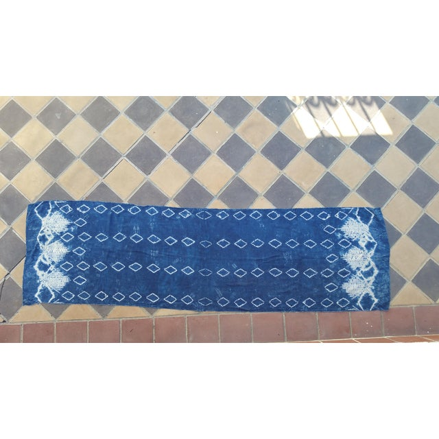 Super soft silk table runner hand decorated with indigo batik design. Also could be used as a scarf or textile for...