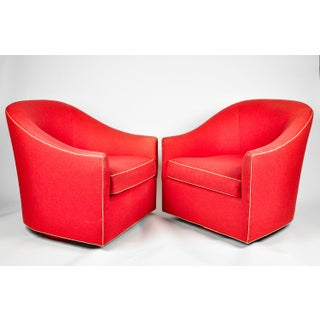 Contemporary North America Red Upholstered Bergere Chairs - a Pair Preview