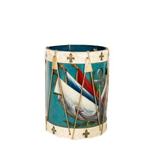 1930s French Decoupage Drum Waste Basket