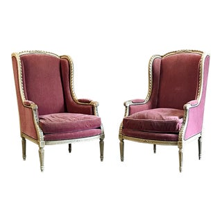 Wingback Bergeres, Antique French Louis XVI Painted - a Pair For Sale