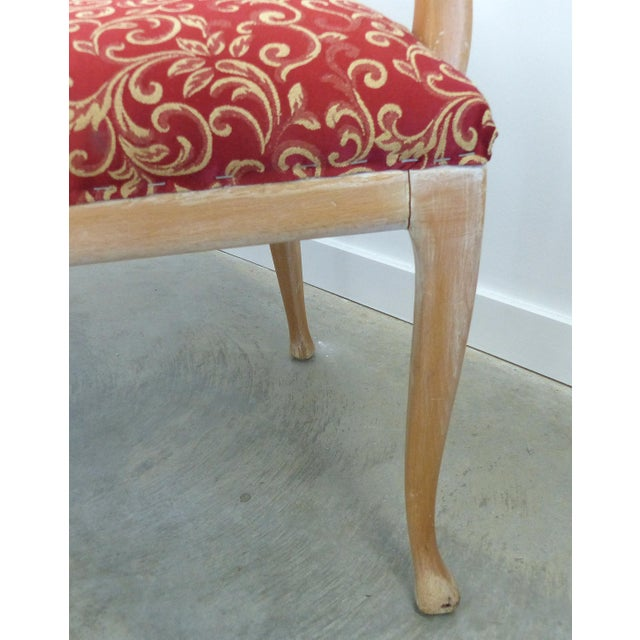 Red LaVerne Style Carved Wood Settee For Sale - Image 8 of 12