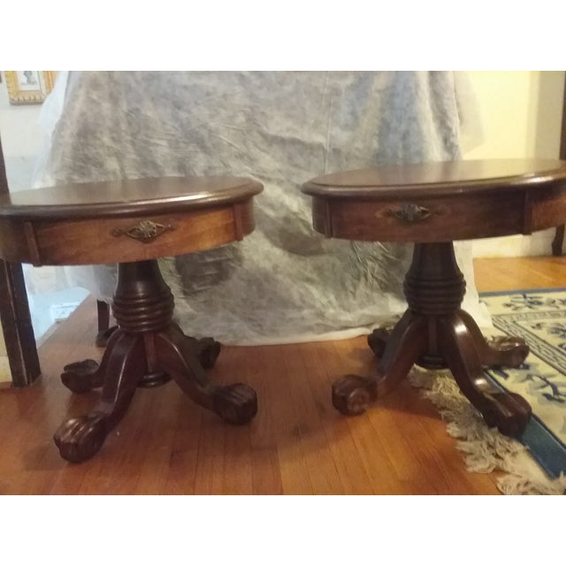 Classic Oak End Tables - Pair - Image 7 of 8