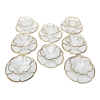 Vintage Gold Rimmed Dessert Bowls & Saucers - Set of 8 For Sale