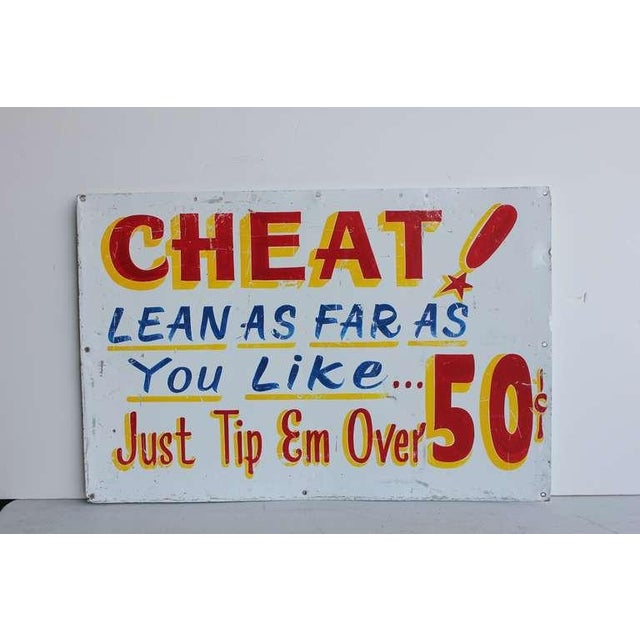 "Carnival 1950's Vintage ""Cheat!"" Carnival Sign For Sale - Image 3 of 3"