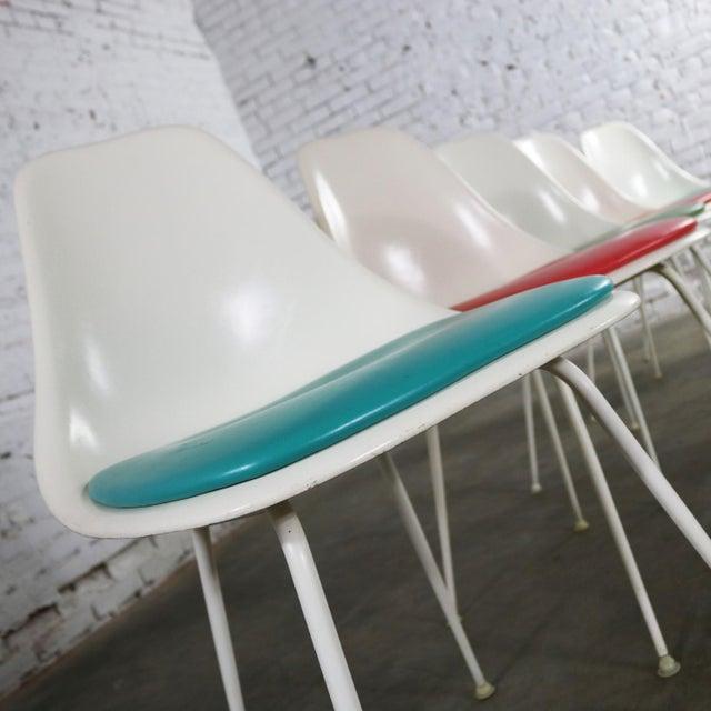 Fiberglass Burke Fiberglass #103 Shell Chairs With Padded Seats Set of 5 Mid Century Modern For Sale - Image 7 of 13