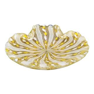1950s Murano Latticino Glass Bowl by Fratelli Toso