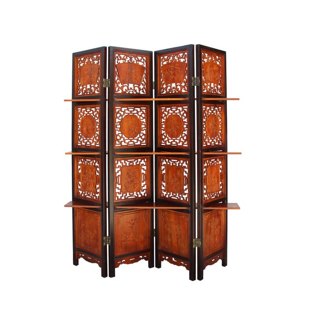Chinese Scenery Carving 2 Brown Tone Wood Panel Floor Screen Display Shelf For Sale - Image 10 of 10