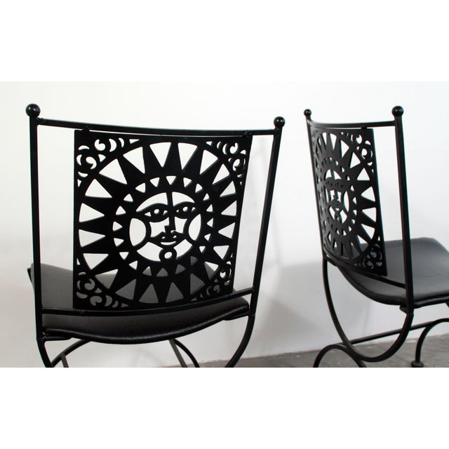 1950s Mid Century Modern Arthur Umanoff Mayan Sun Cast Iron Chairs - a Pair For Sale - Image 12 of 13