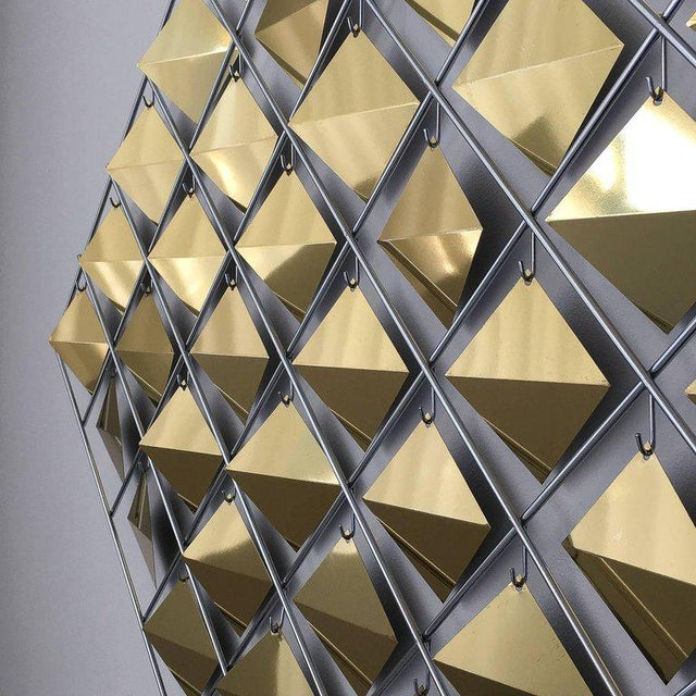 Gold Curtis Jere Brass Diamond Kinetic Wall Sculpture For Sale - Image 8 of 9