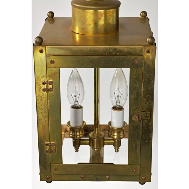 Traditional Late 20th Century Traditional Brass and Glass Two Light Lantern For Sale - Image 3 of 13