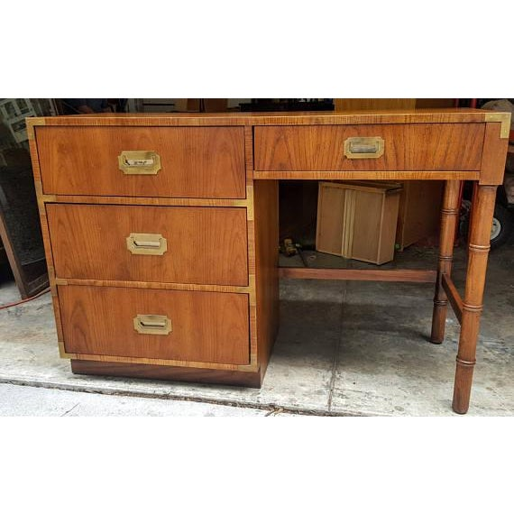 Beautiful Dixie Campaigner desk. Perfect for a smaller area. One of the wire pull handles is missing from inside hardware...