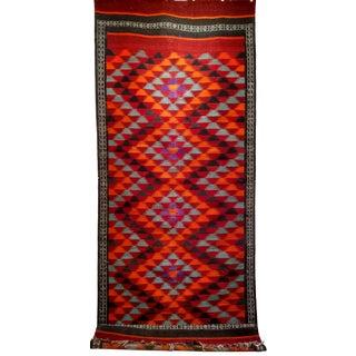 Vintage Moroccan Kilim Runner - 4′8″ × 12′4″ For Sale