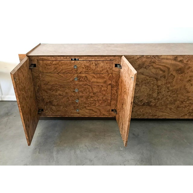 Paul Evans Style Faux Burl & Chrome Credenza For Sale - Image 5 of 10