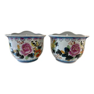 1980s Chinoiserie Hand Painted Wall Pockets - a Pair For Sale