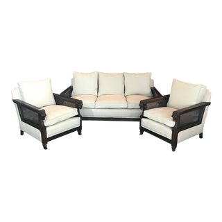 French Louis XVI Style Three-Piece Carved Rams Head Sofa and Armchair Set For Sale